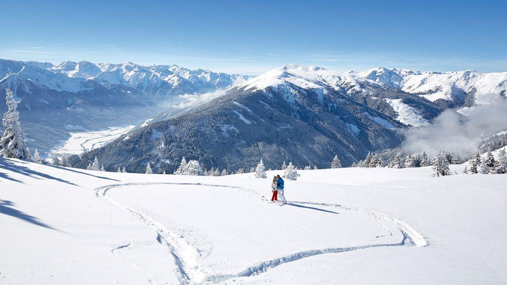 Beim Ausblick in die 3000er des Nationalparks Hohe Tauern schlägt jedes Skifahrerherz höher - Bildnachweis: Mittersill Plus GmbH, Michael Huber