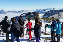 Guided snow shoe hiking tour up on Feuerkogel