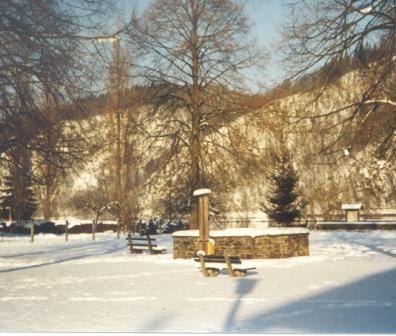 Das Zentrum von Kasten bildet der Dorfplatz mit seinem Brunnen. 5 große Linden umgeben den Brunnen. - Vichtenstein Oberoesterreich