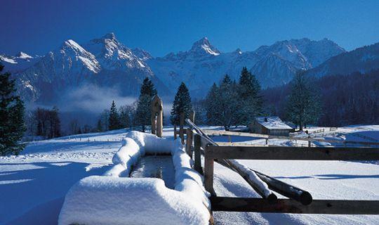 Verschneiter Brunnen auf der Tschengla - Buerserberg Vorarlberg