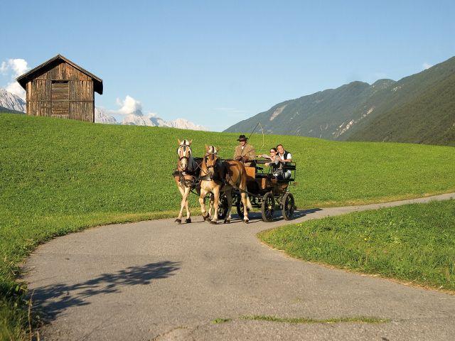 Bei einer Kutschenfahrt lässt sich die Landschaft einmal anders erkunden. - Schoenwies Tirol