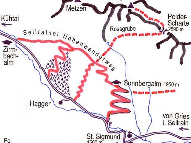 Plan Sellraintaler Höhenwanderweg im Bereich Zirmbachalm-Haggen-St. Sigmund - St. Sigmund-Praxmar  Tirol