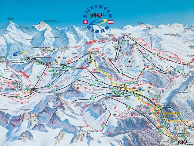 Pistenplan Samnau Ischgl - Spiss Tirol