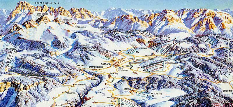 Hochebene von Asiago - Skipisten Panoramabild groß - Hochebene von Asiago - Skipisten Asiago