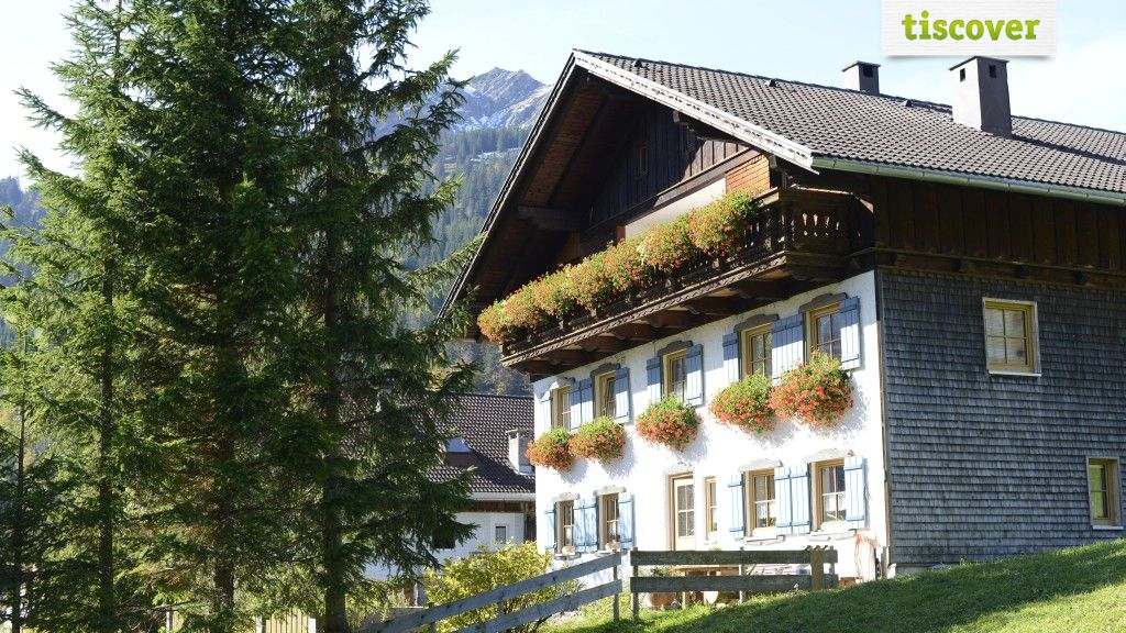 View from outside In summer - Gaestehaus Holl Schattwald