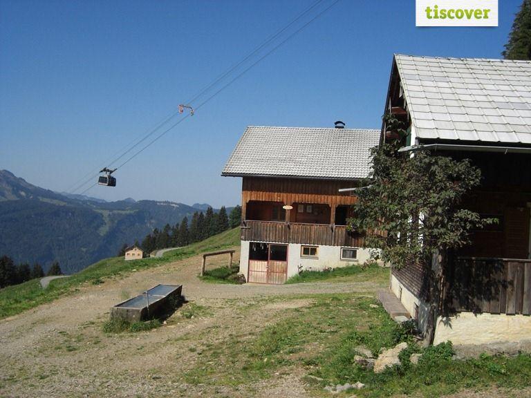 Aussenansicht im Sommer, Panoramahütten Sonderdach